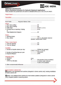 ADE - Questionnaire for Hydraulic Steelwork Applications