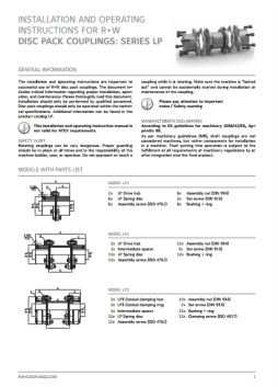 Installation Instructions Disc Pack Couplings