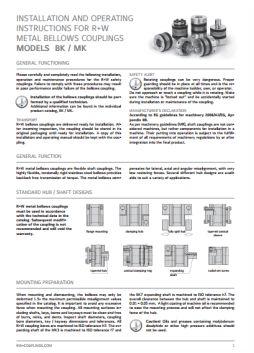 Installation Instructions Miniature Bellows Couplings