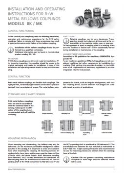 Installation Instructions Miniature Bellows Couplings