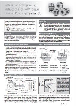 Installation Instructions Series SL Torque Limiter